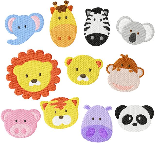 Set Of Eleven 4x4 Zoo Jungle Baby Face Filled Machine Embroidery