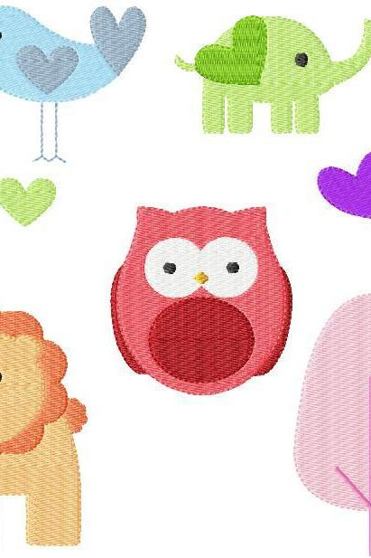 Instant Digital Download 4X4 Spring Animals Owls Birds Hearts Baby Shower Filled Machine Embroidery Designs