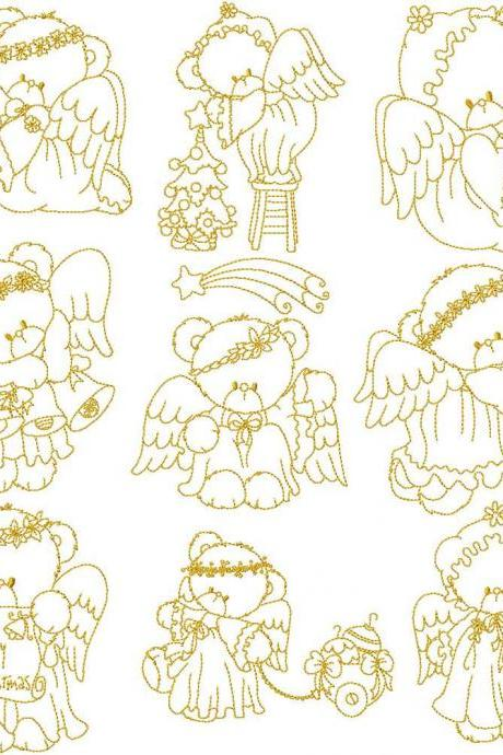 Instant Digital Download Christmas Angel Teddies Holiday Linework Machine Embroidery Designs for 4x4 hoop
