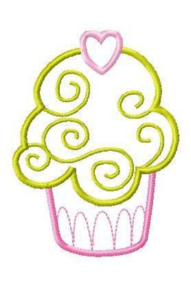 Instant Digital Download 4X4 Set 16 CupCake Cup Cakes Applique Machine Embroidery Designs