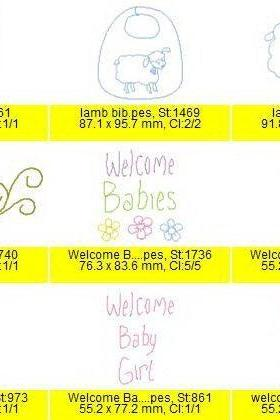 Instant Digital Download 31 Baby Linework 4x4 Machine Embroidery Designs Babies Twins Bibs Animals