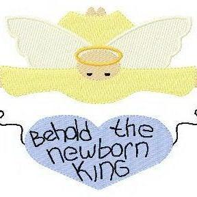 Original Artwork Instant Digital Download 4x4 Single Machine Embroidery Design Christmas Angel Behold the Newborn King